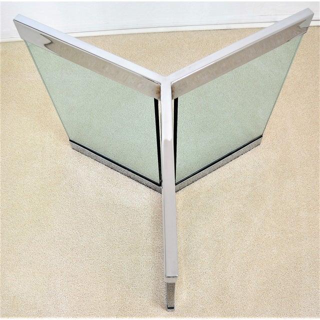 Art Deco 1970s Leon Rosen for Pace Pedestal Base- Mid Century Modern MCM Chrome Glass Art Deco Minimalist For Sale - Image 3 of 8