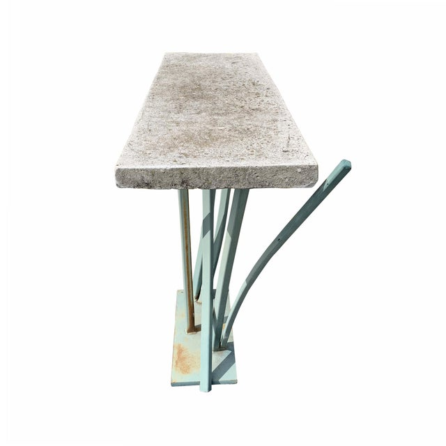 Iron and Cast Stone Console Table by Joseph Wesner For Sale In Chicago - Image 6 of 13