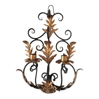 Mid Century Italian Iron & Gilt Tole Wall Sconce For Sale