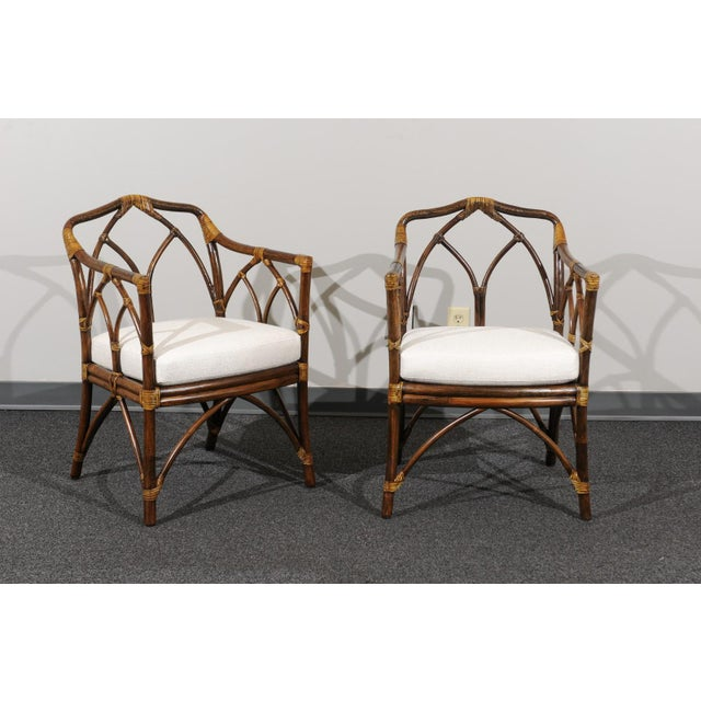 Gold Chic Restored Set of 8 Modern Arm Dining Chairs by McGuire, circa 1975 For Sale - Image 8 of 13