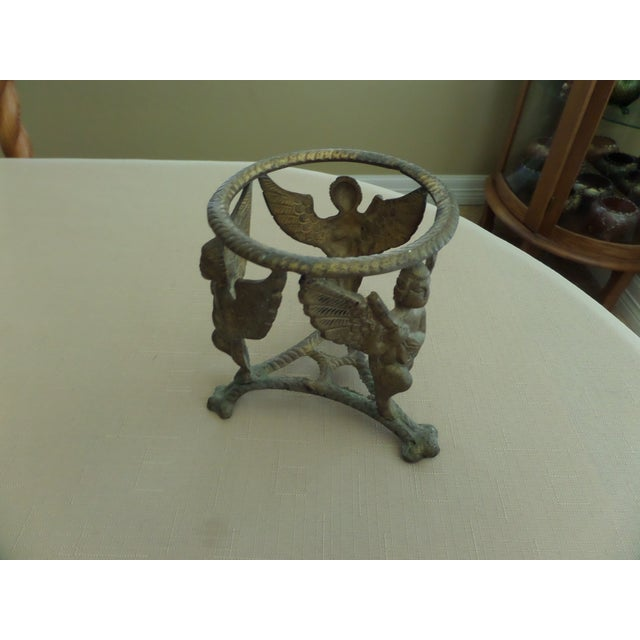 Vintage Solid Brass Display Stand With 3 Cherubs, Loin's Feet and Braided Round Top For Sale In Dallas - Image 6 of 8