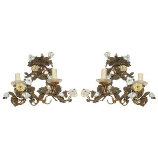 1920s Gilt Tole Porcelain Flowered Sconces - a Pair For Sale