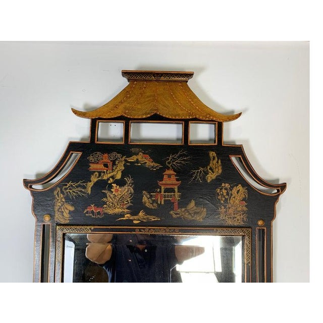 1950s Asian Style Decorative Chinoiserie Hand Painted Mirror For Sale - Image 4 of 11