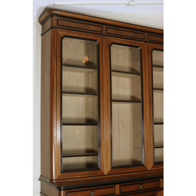 Wood Mid 19th Century French Walnut Bureau Bookcase With Ebonized Trim and Original Glazing For Sale - Image 7 of 9