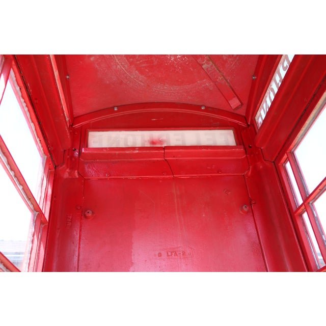 Red Metal Vintage London Lifesize Telephone Booth For Sale - Image 8 of 13