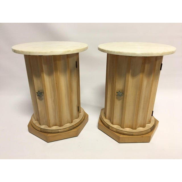 Medallion Column Cabinet Side Tables - A Pair - Image 2 of 5