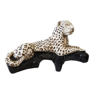 Vintage Ceramic Reclining Cheetah For Sale
