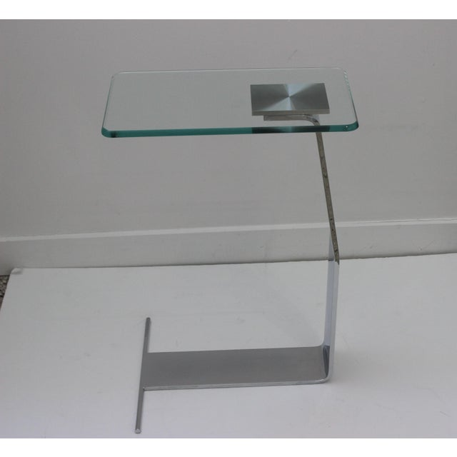 Silver Side Table Satin Steel Polished Steel Glass in Style of Dia For Sale - Image 8 of 13