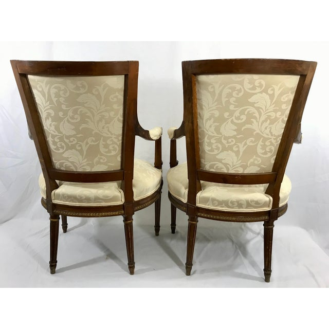 French Louis XVI Style Arm Chairs a Pair For Sale - Image 3 of 6
