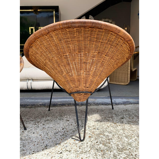 1950s 1950s Rattan Basket Armchairs - a Pair For Sale - Image 5 of 13