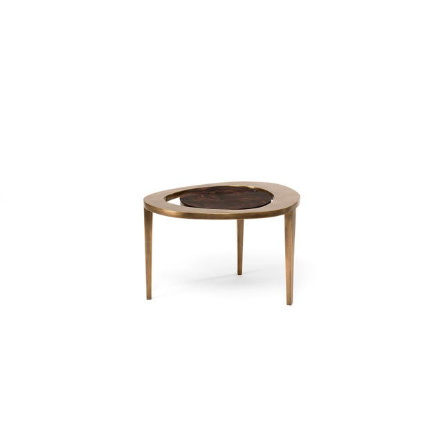 R & Y Augousti Peacock Nesting Coffee Table in Cream Shagreen and Brass by R&y Augousti For Sale - Image 4 of 9