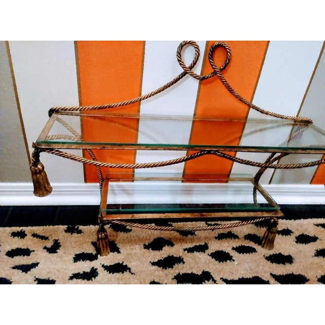 Hollywood Regency Hollywood Regency Wrought Iron Gold Gilt and Tassel Wall Double Shelf For Sale - Image 3 of 4