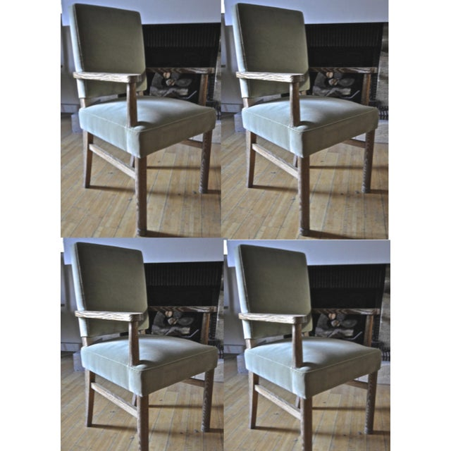 1950s Jacques Adnet Set of 4 Cerused Oak Armchairs For Sale - Image 5 of 5