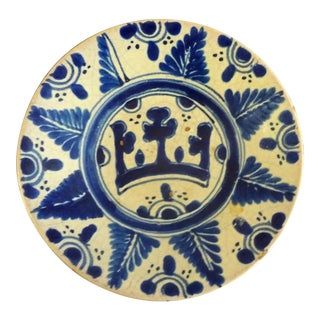 Antique Blue & White Pottery Plate
