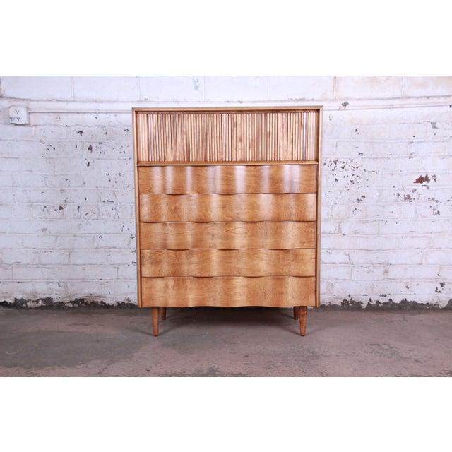 Edmond Spence Wave Front Highboy Dresser For Sale - Image 13 of 13