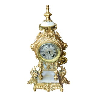 Antique French Japy Freres 1867 Medal Ormolu Bronze Dore Mantle Clock For Sale
