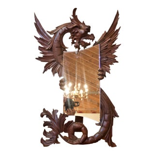 1890s Antique French Gothic Carved Walnut Dragon Mirror For Sale