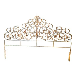 1970s Hollywood Regency Gold Gilt Wrought Iron King Size Headboard For Sale