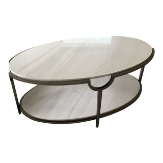 Contemporary Oval Faux Marble and Steel Two Tier Coffee Table For Sale