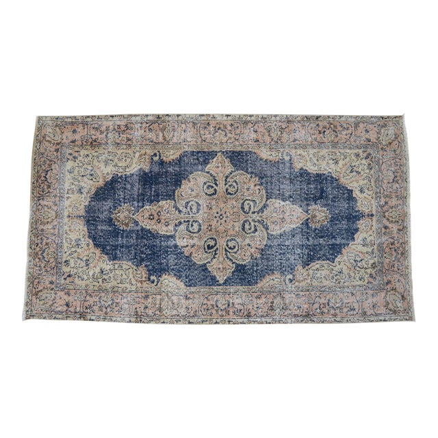 Turkish Distressed Area Rug Hand Knotted Faded Oushak Rug - 3'7'' X 6'7'' For Sale