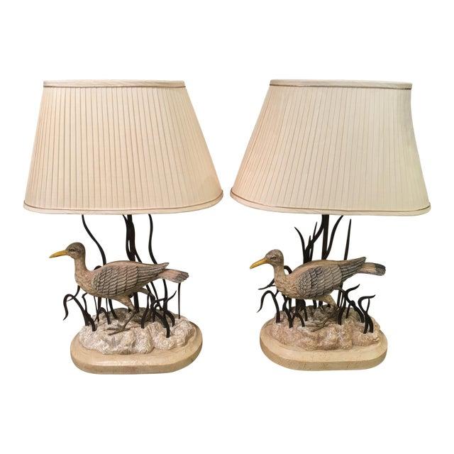 Maitland Smith Designer Heron Bird Lamps - a Pair - Image 1 of 5