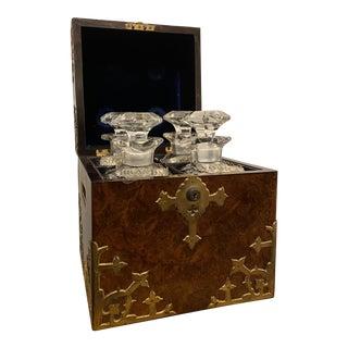 Antique English Burled Walnut Tantalus - 5 Piece Set For Sale