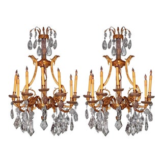 French Dore Bronze Cut Crystal Sconces - A Pair