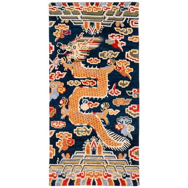 Blue Tibetan Dragon Area Rug-3′ × 6′ For Sale - Image 8 of 8