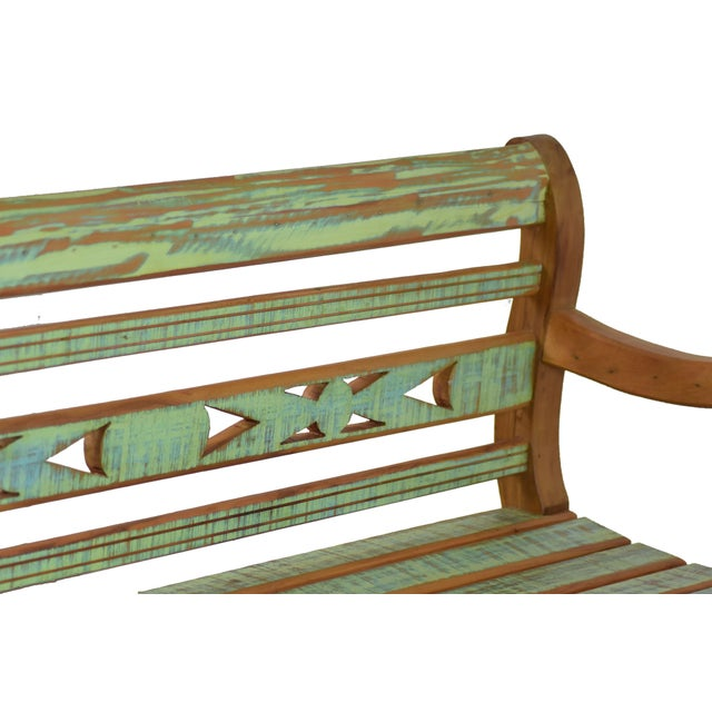 Art Deco Reclaimed Wood Bench For Sale - Image 3 of 4