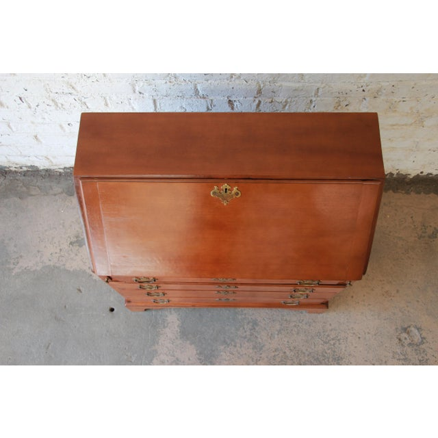 18th Century Early American Chippendale Cherry Wood Drop-Front Secretary Desk For Sale In South Bend - Image 6 of 13