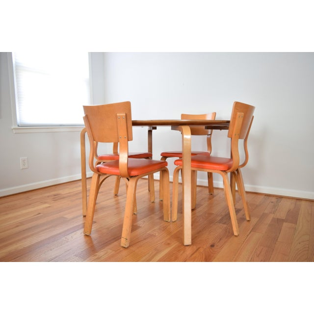 Brown Mid-Century Thonet Bentwood Table & Chairs For Sale - Image 8 of 10