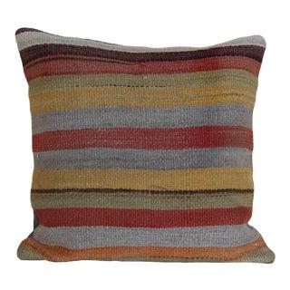 1970s Turkish Striped Kilim Rug Pillow