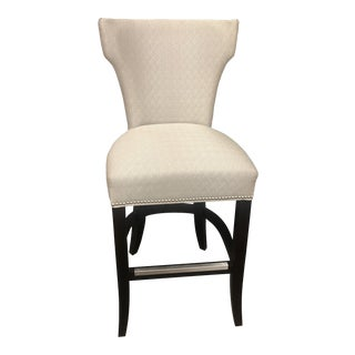 Taupe Textured and Espresso Upholstered Bar Stool For Sale