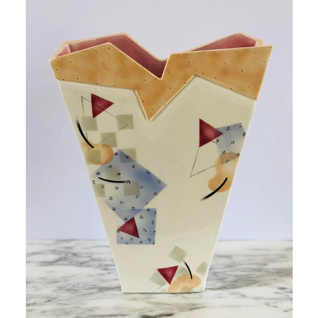 Abstract 1980s Vintage Rita Duvall Memphis Ceramic Vase For Sale - Image 3 of 6