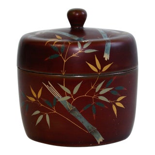 1940's Vintage Maruni Lacquerware Occupied Japan Divided Round Trinket Dish For Sale