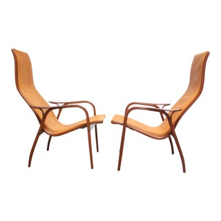 Pair of Swedish Teak and Leather 'Lamino' Chairs by Yngve Ekström For Sale