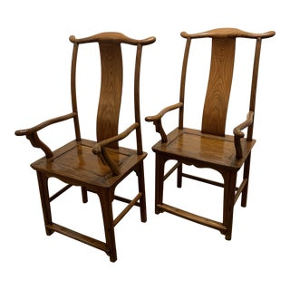 Antique Ming Style Elm High Back Chairs - a Pair For Sale