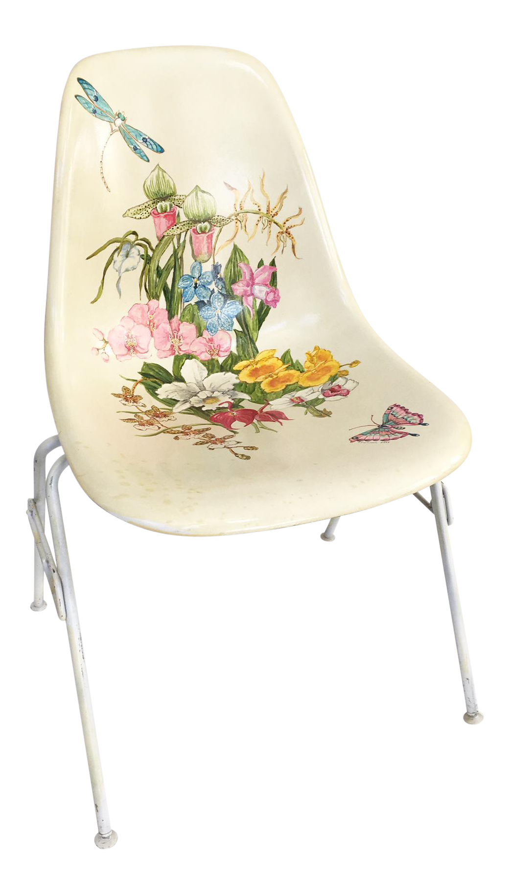 Hand Painted Herman Miller Eames Molded Fiberglass Side Chair   Image 1 Of 9