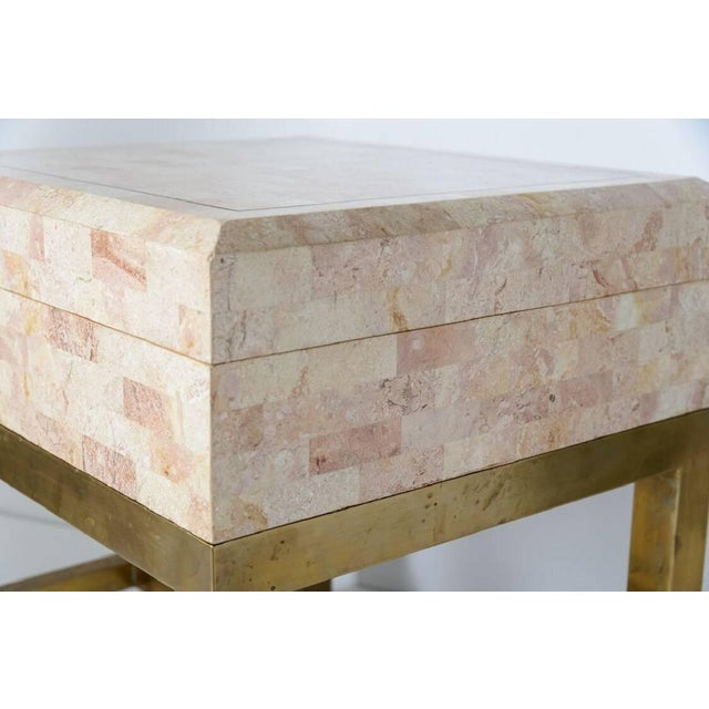 Brass Maitland Smith Tessellated Marble and Brass Box on Stand For Sale - Image 7 of 11