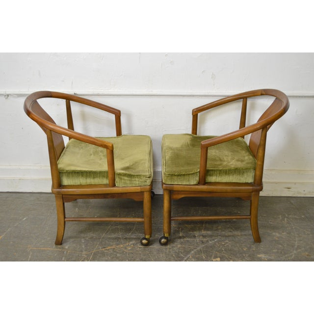 Edward Wormley Dunbar Style Mid-Century Barrel Back Chairs - A Pair - Image 3 of 11