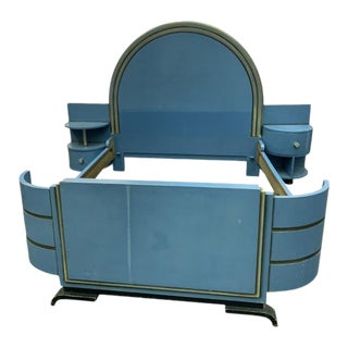 High Style Modernist Art Deco Bed With Unique Asymmetrical Night Stands For Sale