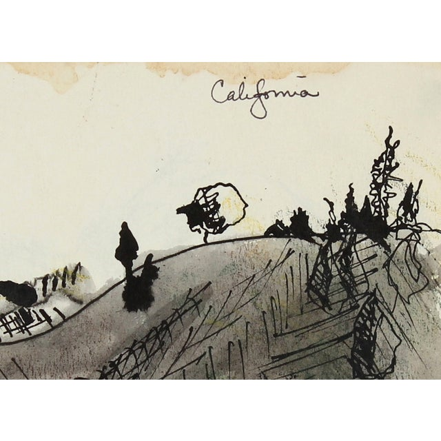"Laura Lengyel ""California"" Ink Drawing, 1967 - Image 2 of 2"