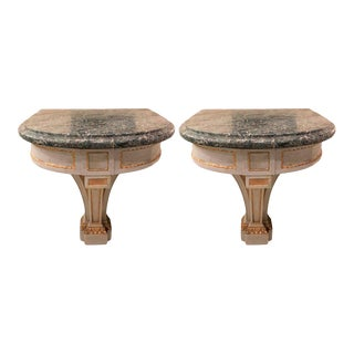 Hollywood Regency Painted and Marble Demilune Consoles - a Pair For Sale