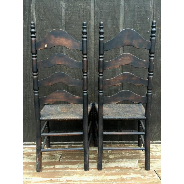 Black French Farmhouse Ladderback Chairs - Set of 4 For Sale - Image 8 of 11