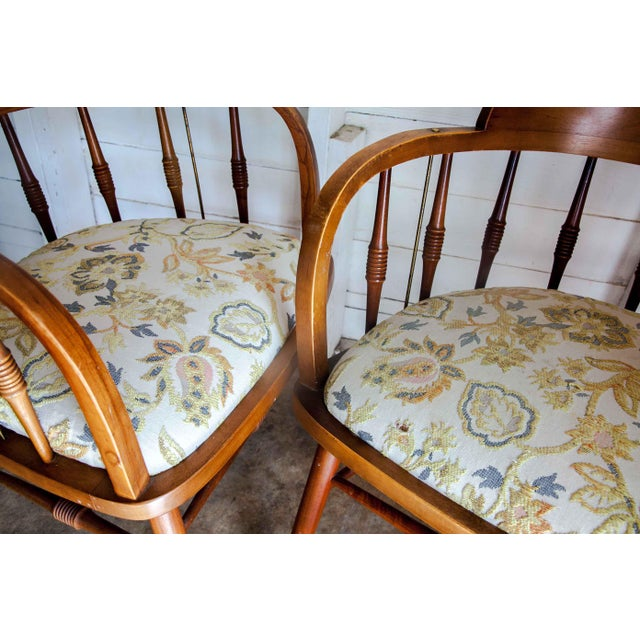 1950s Vintage Drexel Barrel Dining Office Accent Arm Chairs- Pair For Sale - Image 11 of 13