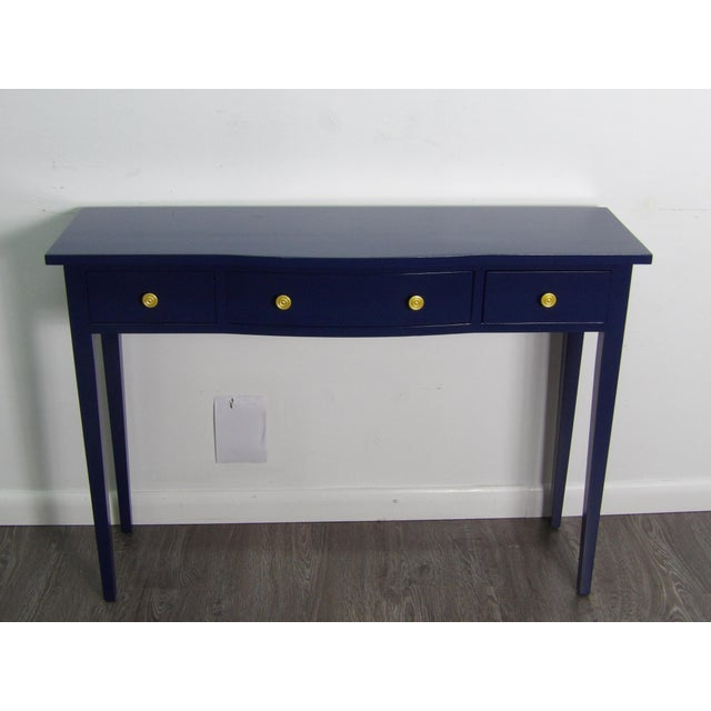 Transitional Transitional Navy Console With Three Drawers For Sale - Image 3 of 6