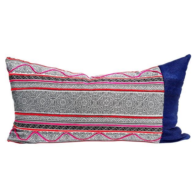 Boho Hmong Batik Lumbar Pillow Cover - Image 1 of 3