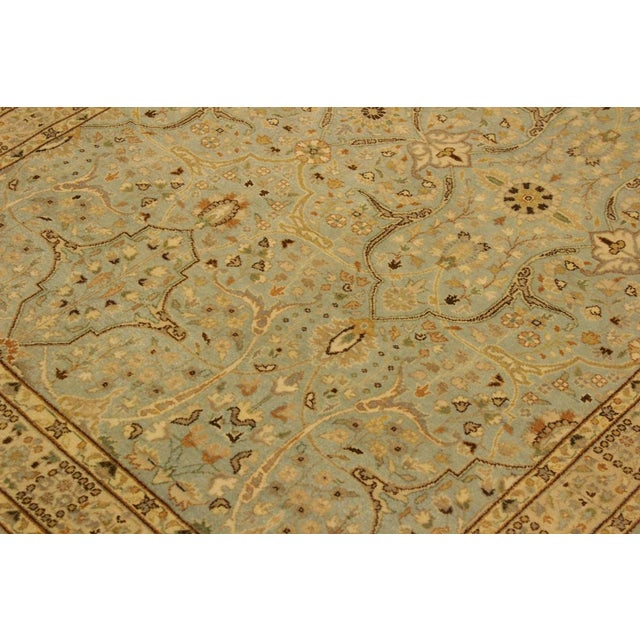 Semi Antique Istanbul Ira Blue/Ivory Turkish Hand-Knotted Rug -4'0 X 5'11 For Sale In New York - Image 6 of 8