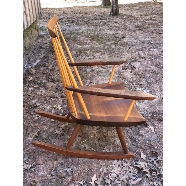 Modern Nakashima Studio Mixed Wood Lounge Rocking Chair For Sale In Philadelphia - Image 6 of 13