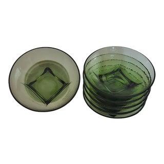 1960s Mid-Century Modern Hazel Atlas Capri Colony Green Glass Bowls - Set of 6